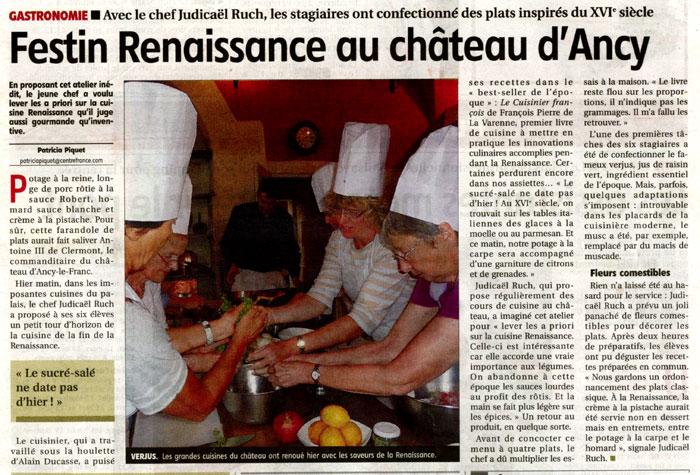 Revue de presse ch teau d 39 ancy le franc - Cours de cuisine yonne ...