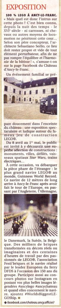 Exposition LEGO Château d'Ancy le Franc 29 mars 2017 article presse yonne républicaine