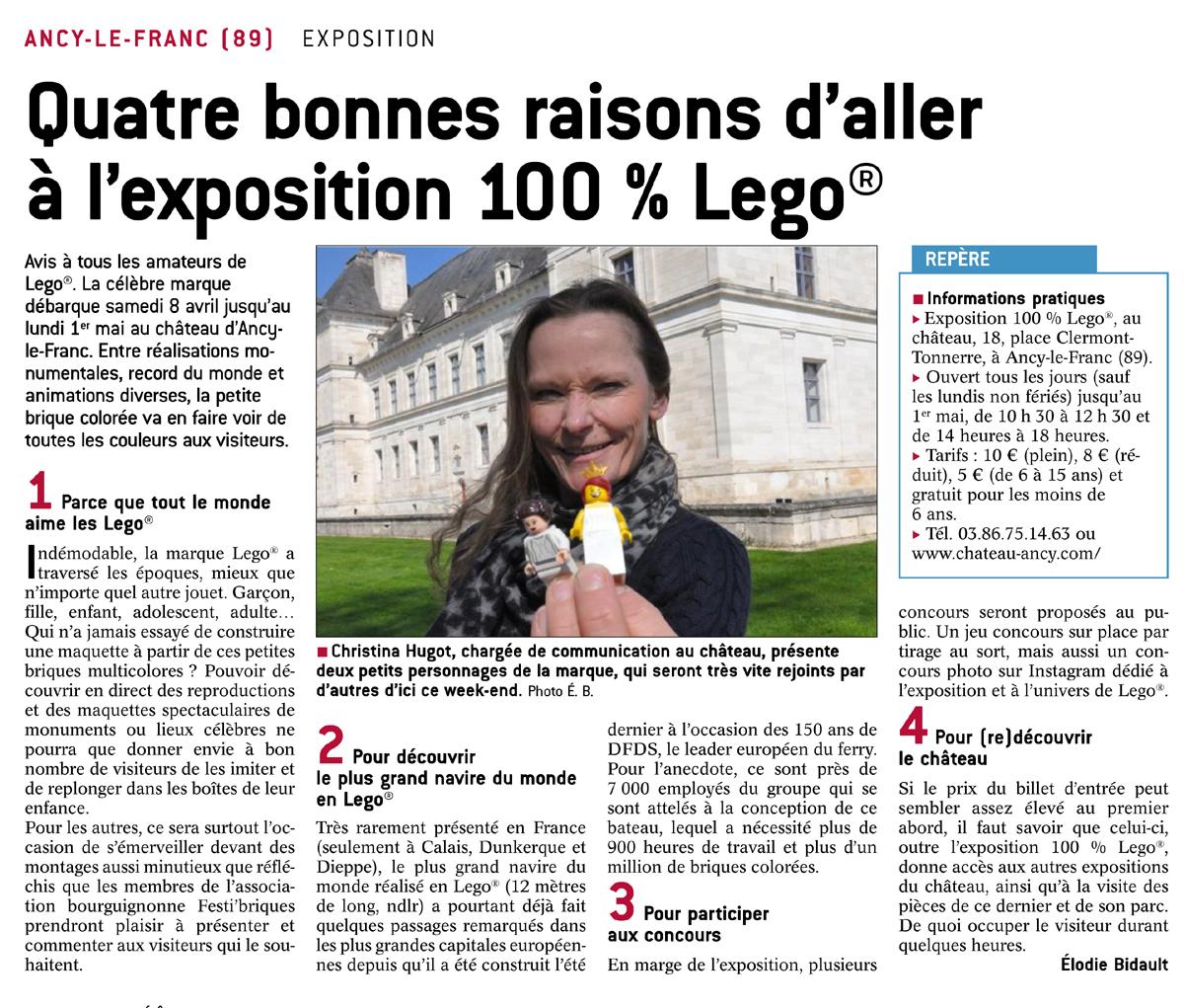 Exposition LEGO au chateau d'Ancy le Franc article de presse 6 avril 2017 LE BIEN PUBLIC