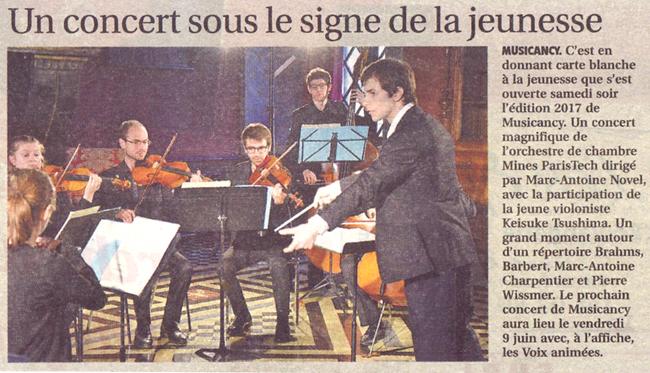 Musicancy Mines ParisTech concert au château d'Ancy le France en bourgogne