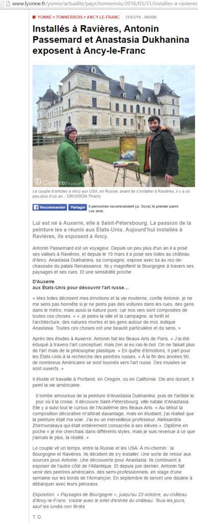 Article Yonne Républicaine xposition au Château d'Ancy le Franc 31 03 2016