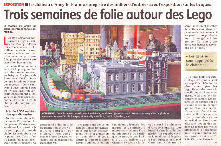 exposition Lego Chateau d'Ancy le Franc Bourgogne Yonne Républicaine 03 05 2017