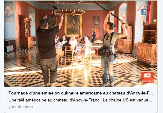 Reportage France 3 tournage au chateau d'Ancy le Franc émission américaine cuisine Bourgognee