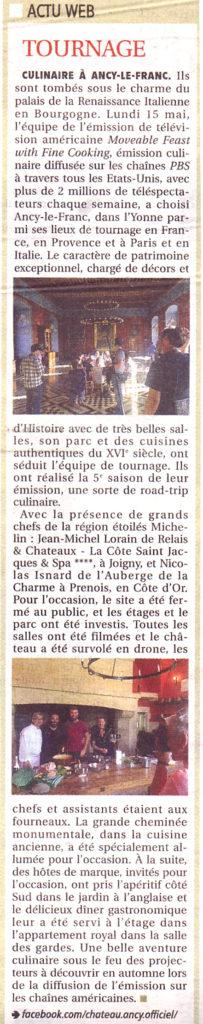 Tournage au chateau d'Ancy le Franc en Bourgogne émission américaine TV moveable feast
