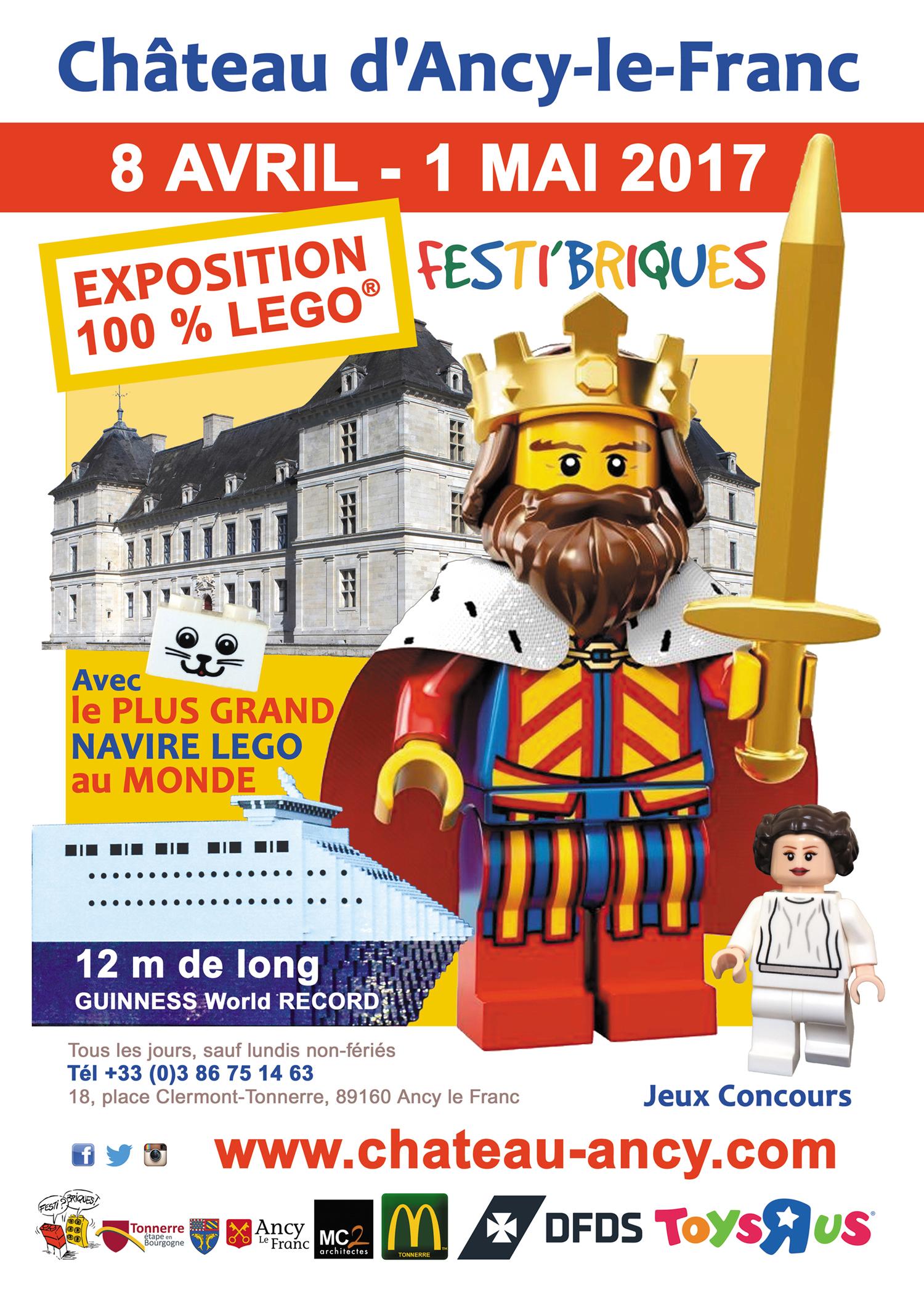 Exposition 100% LEGO au Château d'Ancy le Franc avec le plus grand navire LEGO au monde Record Guinness
