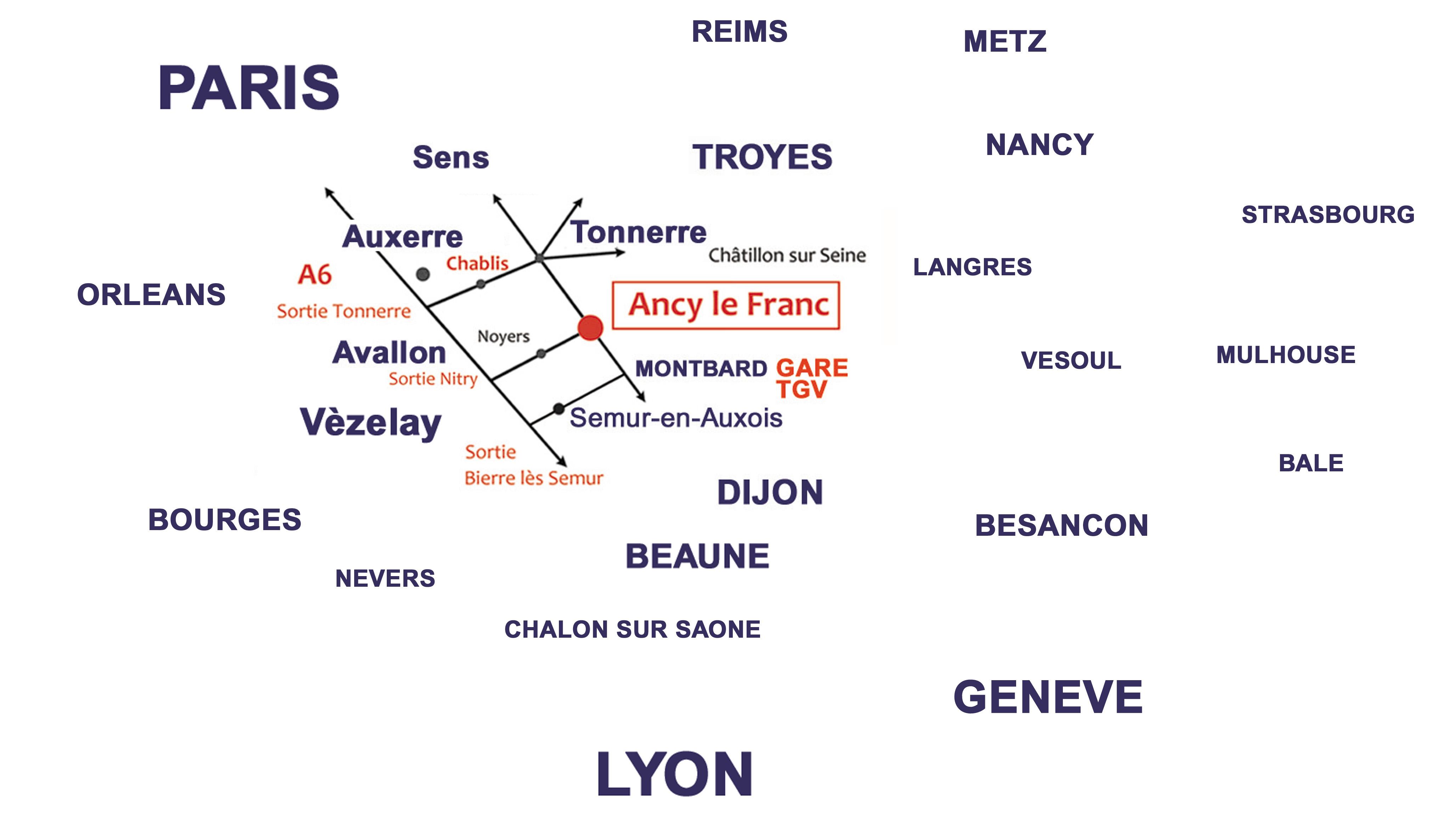 Plan d'acces Château d'Ancy le Franc Map Ancy le Franc Bourgogne france