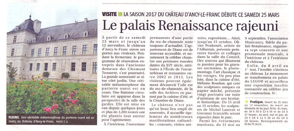 Ouverture du château d'Ancy le Franc en Bourgogne