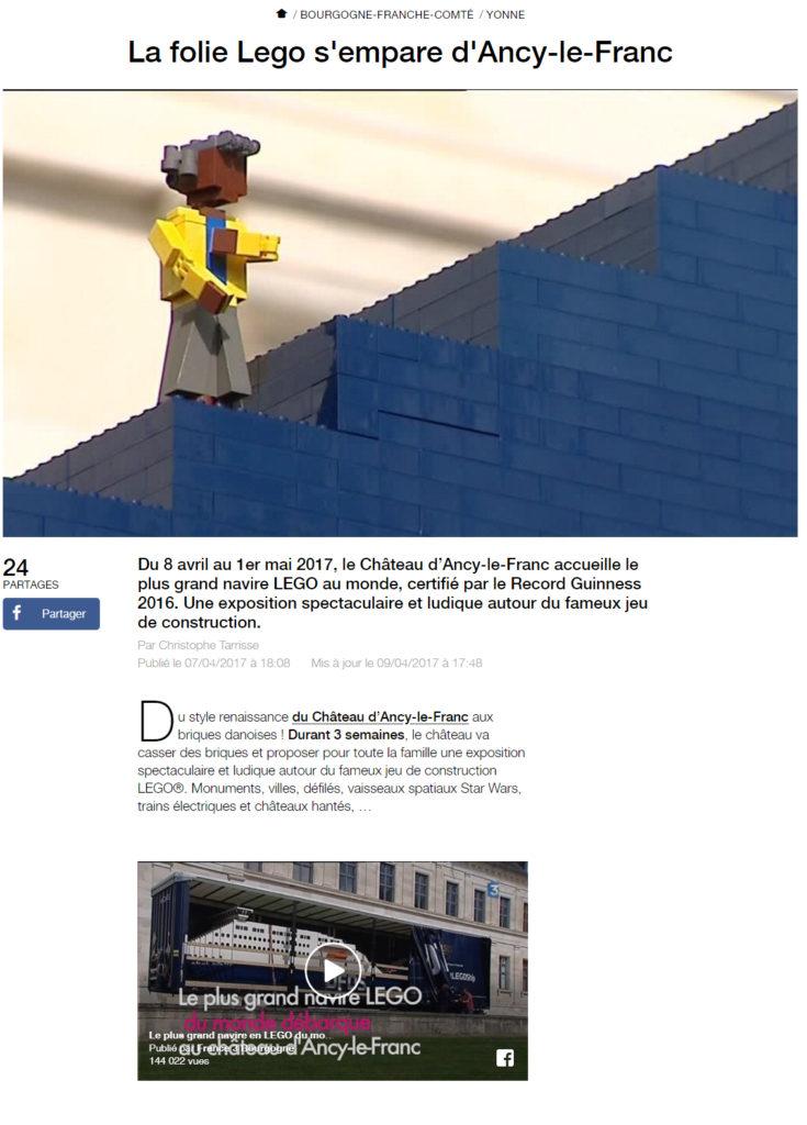 Reportage France 3 Bourgogne Château d'Ancy le Franc exposition 100% lego
