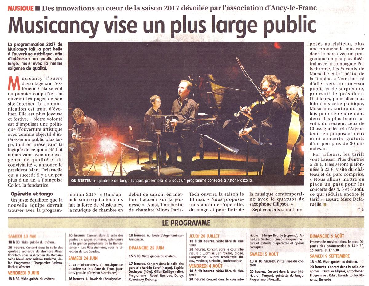 Musicancy Saison 2017 au château d'Ancy le Franc Bourgogne concerts