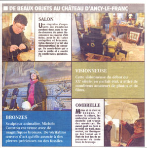 Salon d'antiquités, Brocante et métiers d'Art Château d'Ancy le Franc article Yonne Républicaine