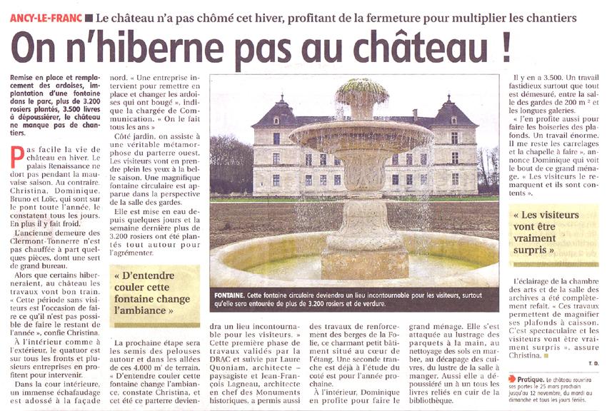création de jardin au chateau d'Ancy le Franc en Bourgogne