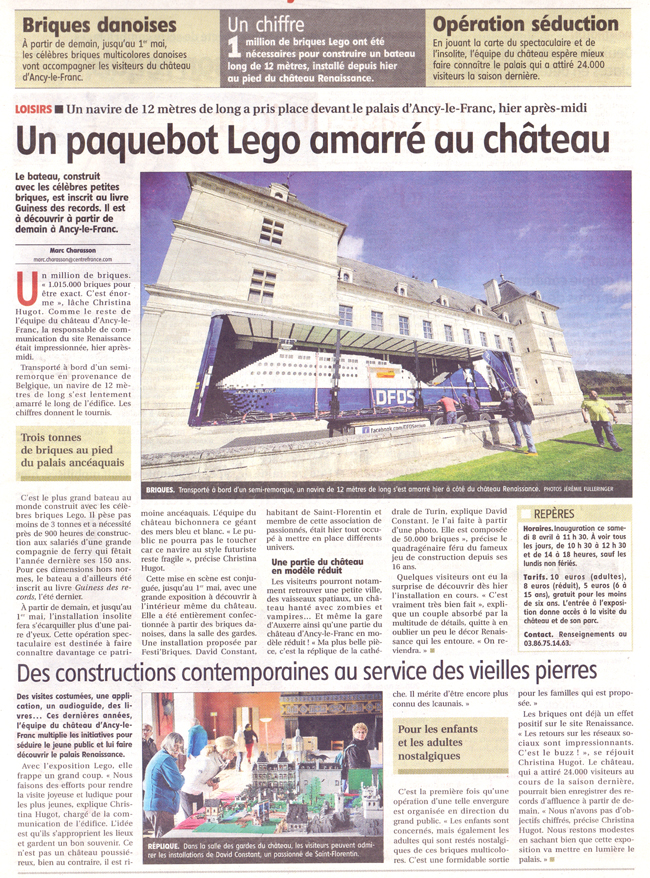 Exposition 100% LEGO au château d'Ancy le Franc Yonne Républicaine 7 Avril 2017