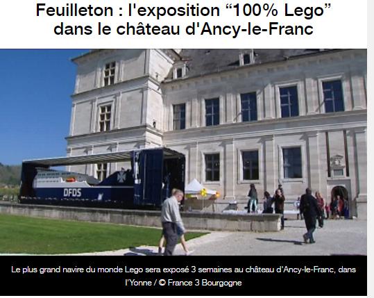 feuilleton expo lego Château d'Ancy le Franc France 3 Bourgogne