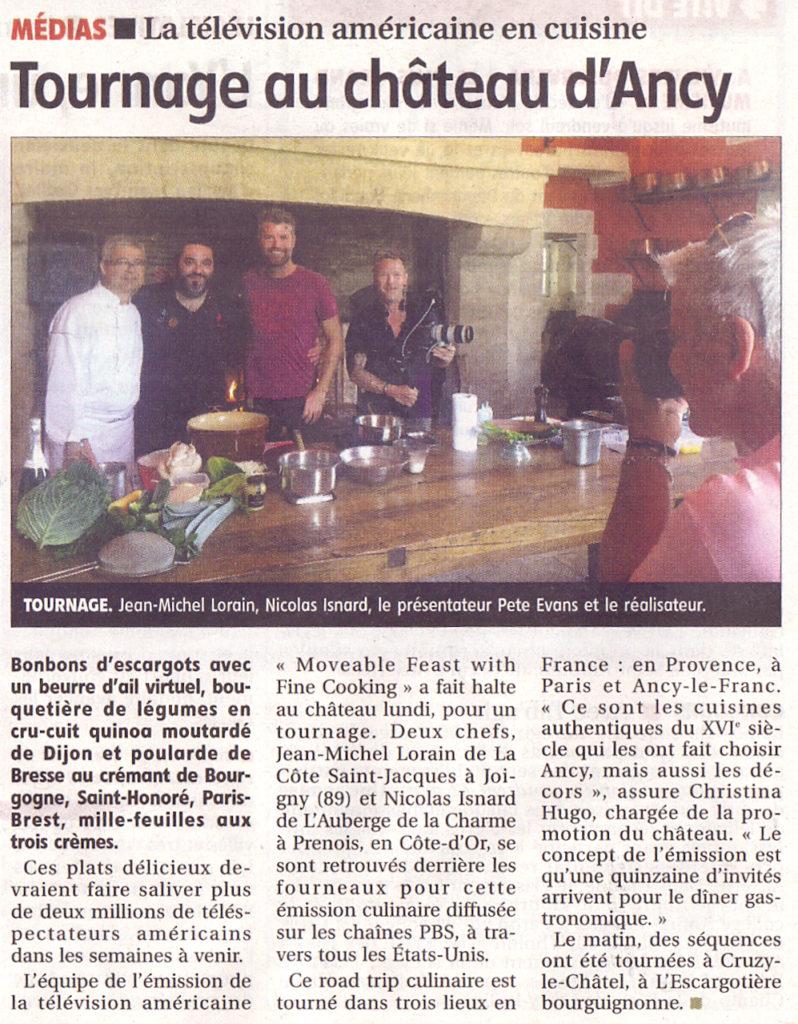 Tournage d'une TV américaine au château d'Ancy le Franc 15 mai 2017