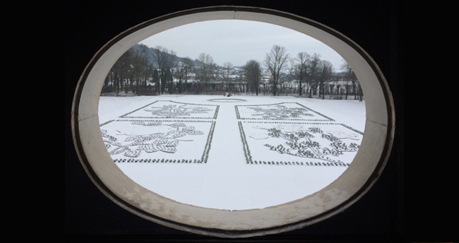 Château d'Ancy le Franc parc et jardins sous la neige nouveau parterre Est