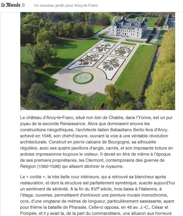 Les jardins d'Ancy le Franc le monde