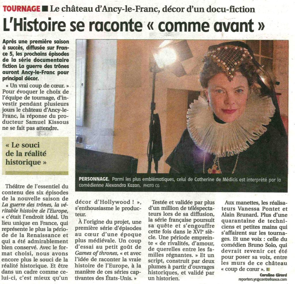 guerre des trônes au château d'Ancy le Franc