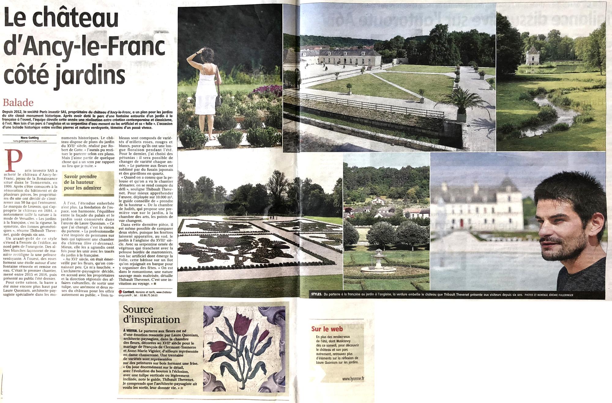 jardins Chateau d'Ancy le Franc article de presse Bourgogne