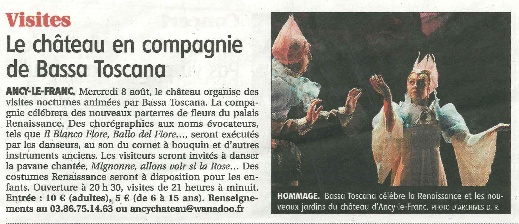 Chateau d'Ancy le Franc article de presse Bourgogne