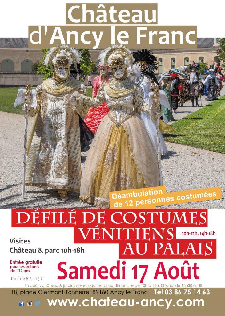 défilé costumes vénitien visites château en bourgognechateau d'ancy le franc